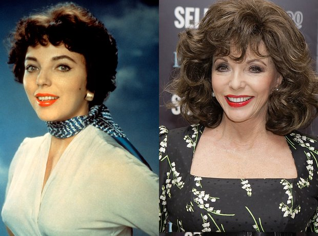 Joan Collins then and now